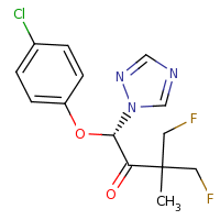 2d structure of (1S)-1-(4-chlorophenoxy)-4-fluoro-3-(fluoromethyl)-3-methyl-1-(1H-1,2,4-triazol-1-yl)butan-2-one