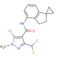 2d structure of 5-chloro-3-(difluoromethyl)-N-{2',3'-dihydrospiro[cyclopropane-1,1'-indene]-4'-yl}-1-methyl-1H-pyrazole-4-carboxamide