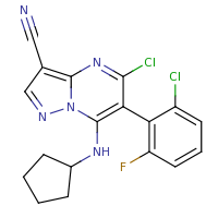2d structure of 5-chloro-6-(2-chloro-6-fluorophenyl)-7-(cyclopentylamino)pyrazolo[1,5-a]pyrimidine-3-carbonitrile